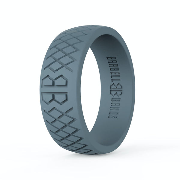 "Barbell Bands Men's ""Steel Grey"" Silicone Ring - 9 for 9"
