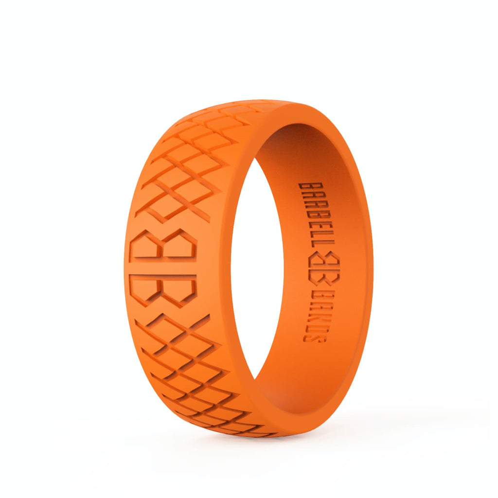 "Barbell Bands Men's ""Blaze Orange"" Silicone Ring - 9 for 9"