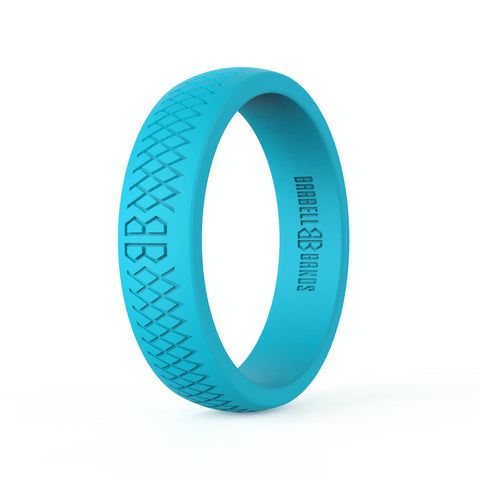 "Barbell Bands Women's ""Aqua"" Silicone Ring - 9 for 9"