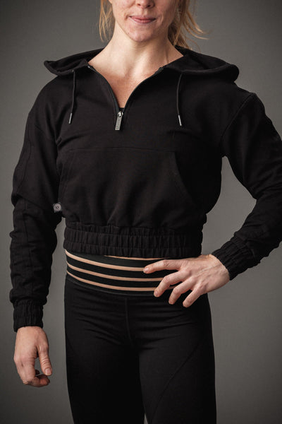 Doughnuts & Deadlifts PERFORM Cropped 1/4 Zip Pullover (Black) - 9 for 9