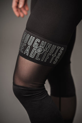 Doughnuts & Deadlifts PERFORM Mesh Panel Leggings (Black) - 9 for 9