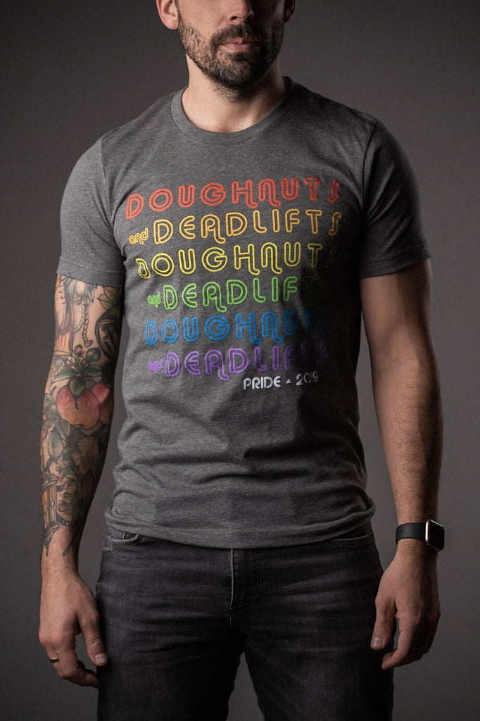 Doughnuts & Deadlifts PRIDE Burn Baby Burn Tee (Charcoal) - 9 for 9