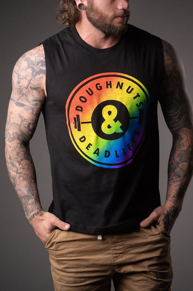 Doughnuts & Deadlifts PRIDE The OG Muscle Tank (Black) - 9 for 9