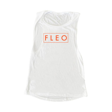FLEO Muscle Tank - Inferno Orange on White - 9 for 9