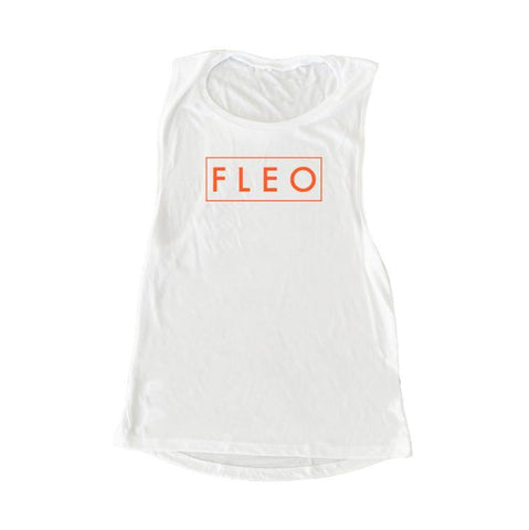 FLEO Muscle Tank - Missile Red on White - 9 for 9