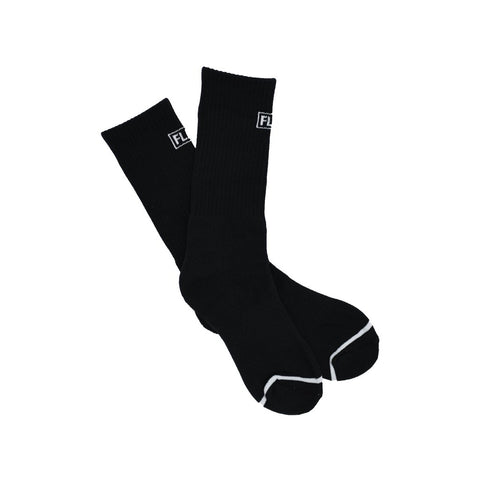 FLEO Black Crew Socks - Front Logo - 9 for 9