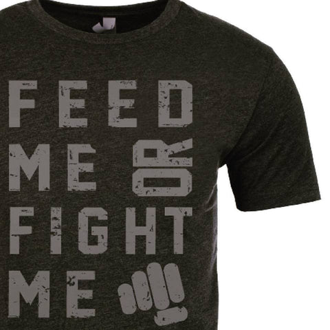 Feed Me Fight Me Men's Black & Gunmetal T-shirt