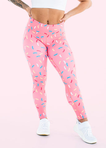 Feed Me Fight Me Donut Sprinkle Mid-Rise Leggings - Pink - 9 for 9