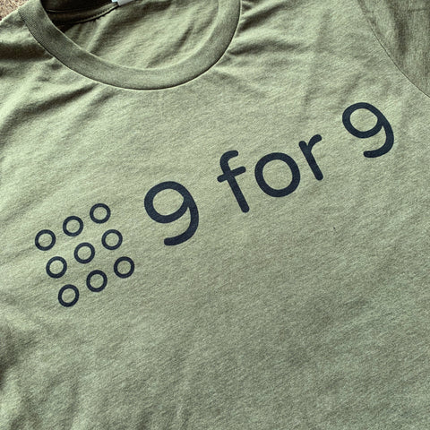 9 for 9 Unisex Tee (Heather Olive) - 9 for 9
