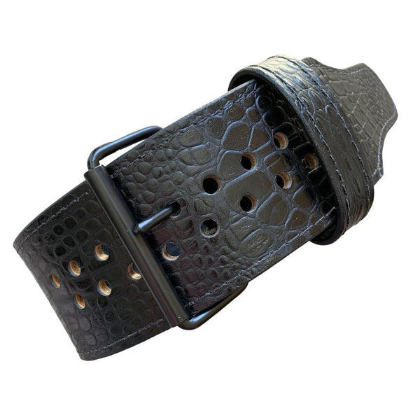"Pioneer Cut™ Powerlifting Belt – 10mm/13mm thick – 3""/4"" wide (""Italian"" Black Embossed Crocodile) - 9 for 9"