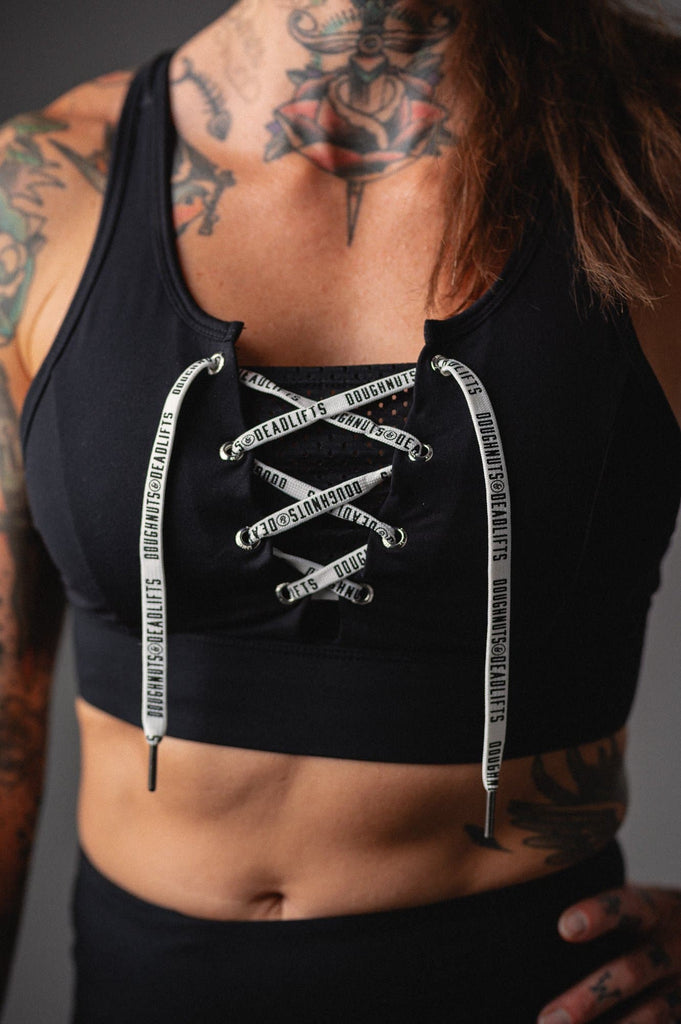 Doughnuts & Deadlifts EMPOWER Action Sports Bra (Black) - 9 for 9