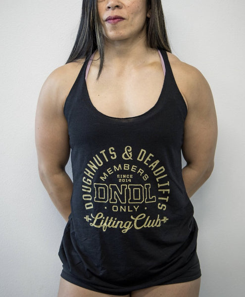 Doughnuts & Deadlifts Lifting Club Racer Back Tank - 9 for 9