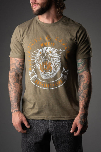 Doughnuts & Deadlifts TIGER DOUGH Tee (Olive) - 9 for 9