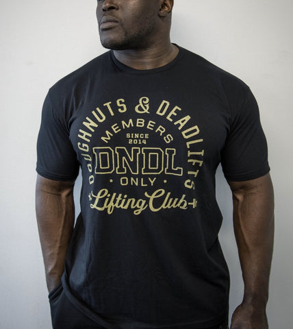 Doughnuts & Deadlifts Lifting Club Black & Gold Tee - 9 for 9