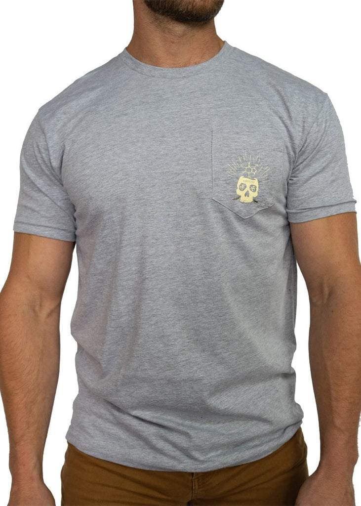 Feed Me Fight Me Men's Brainstorm Pocket Tee (Heather Grey) - 9 for 9