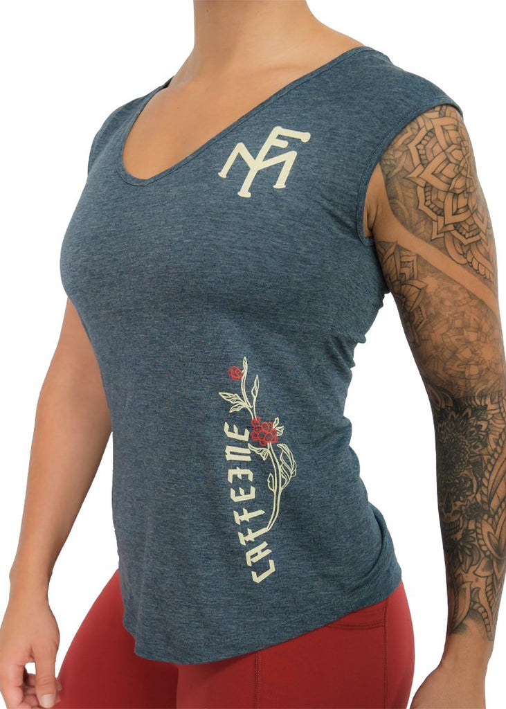 Feed Me Fight Me Women's 'Double Shot' V Neck Tank (Antique Denim) - 9 for 9