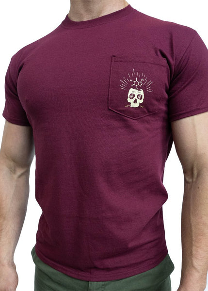 Feed Me Fight Me Men's Brainstorm Pocket Tee (Maroon) - 9 for 9