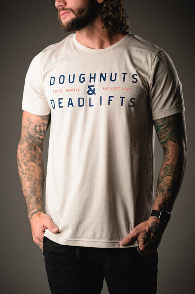 Doughnuts & Deadlifts SUMMER CAMP Tee (Toasted Mallow) - 9 for 9