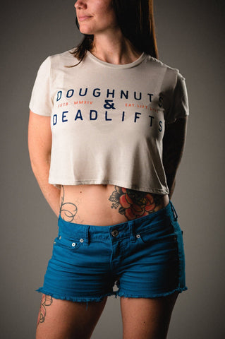 Doughnuts & Deadlifts SUMMER CAMP Cropped Tee (Toasted Mallow) - 9 for 9