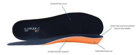 Slimflex Amber Foot Orthotic Insole - 9 for 9