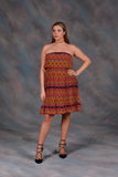 Aztec Printed Chiffon Tube Dress