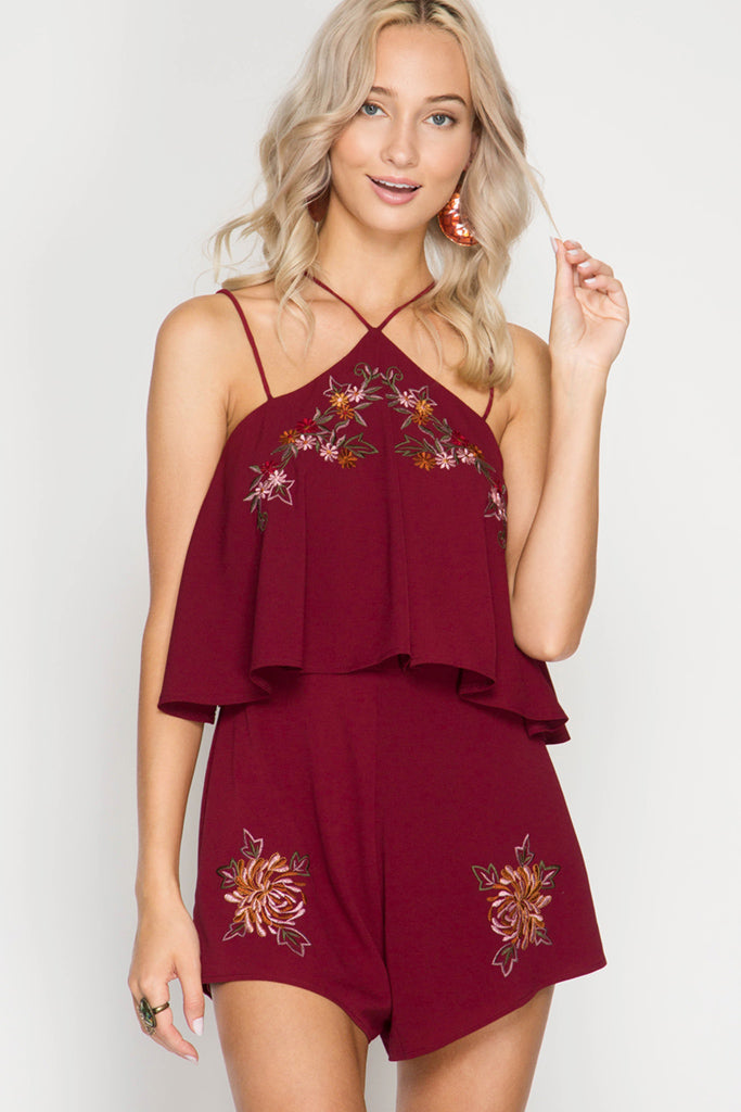 Floral Embroidery Romper