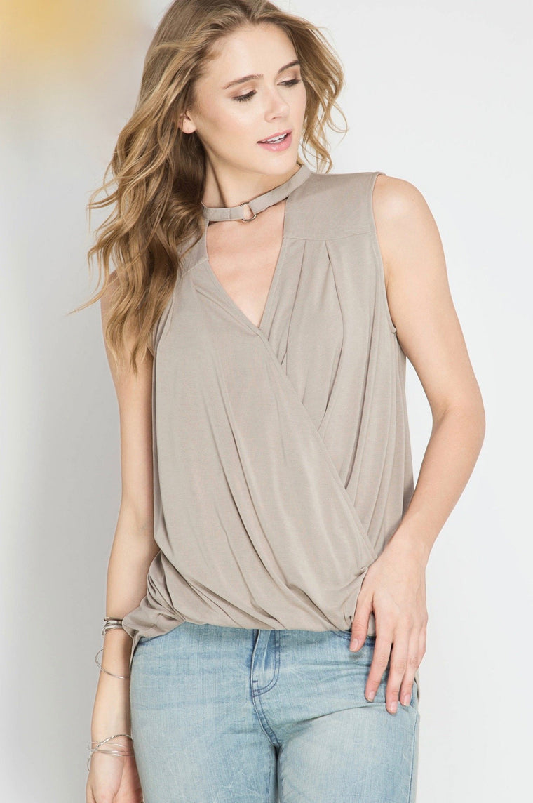 Misty Taupe Sleeveless Tank