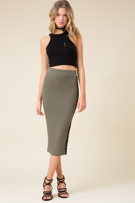 Ribbed Olive Skirt