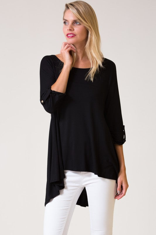 High-Low Button Blouse