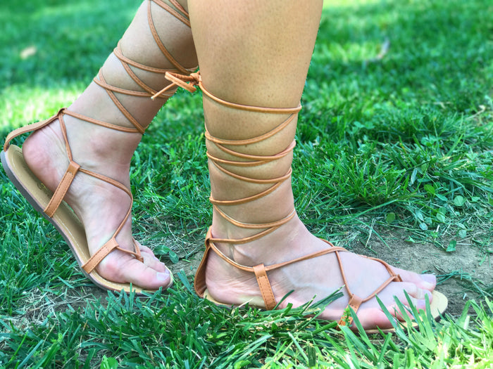 "Side view of sandals called ""Tie Me Up Sandals"""
