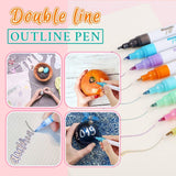 Double Line Fluorescent Pen - 8 Colors/Set