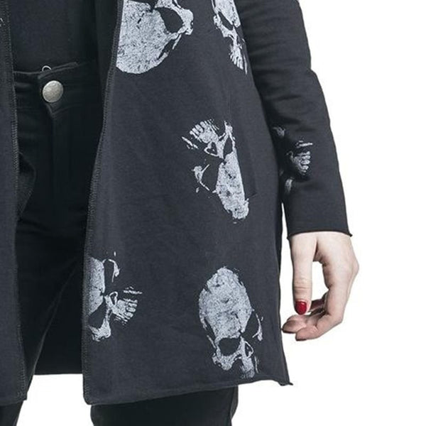 SKULL LONG SLEEVE BLACK CARDIGAN COAT