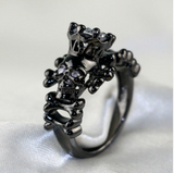 Demon Skull Crown Filled Rhodium Ring