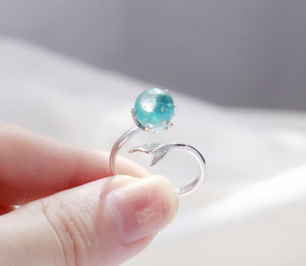Mermaid Crystal Bubble 925 Sterling Silver Ring