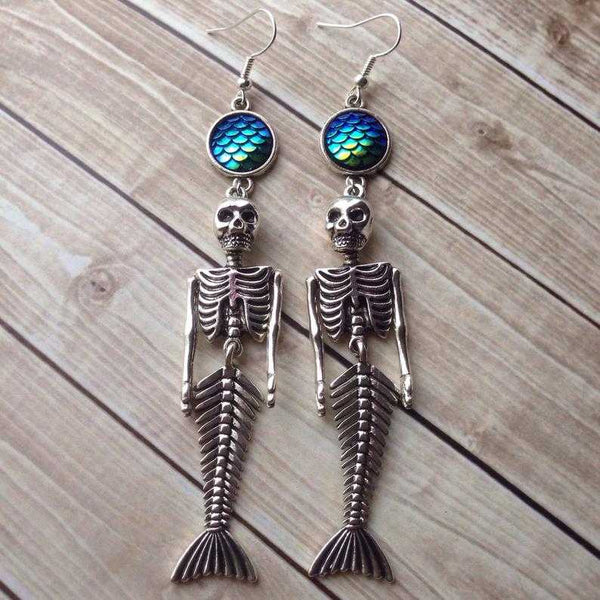 Death Mermaid Skeleton Earrings