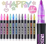 12pcs/set Double Line Outline Glitter Gel Pens