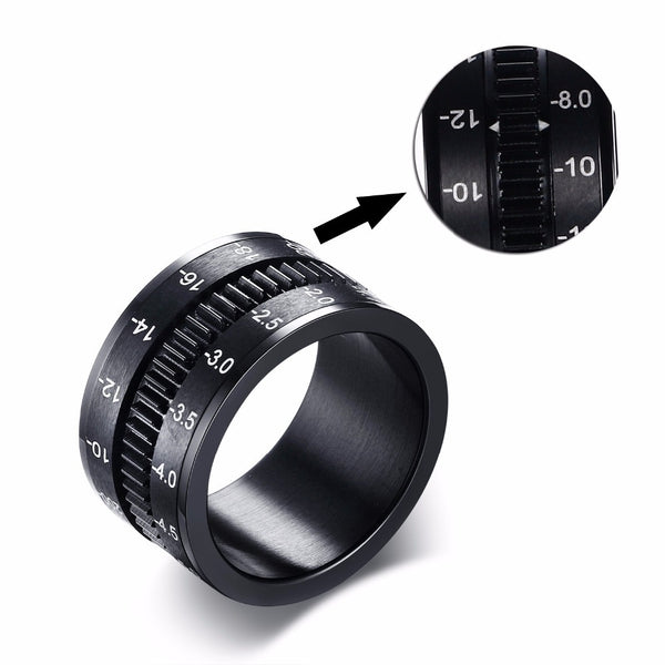 Stainless Steel SLR Camera Lens Ring for Men