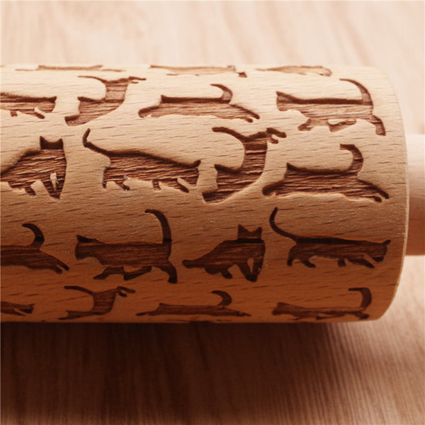 Cats Laser Engraved Rolling Pin