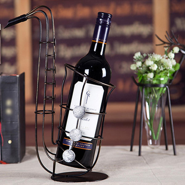Metal Sax Wine Bottle Holder
