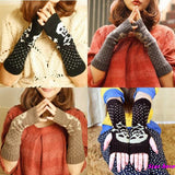 Skull Knitted Long Fingerless Gloves