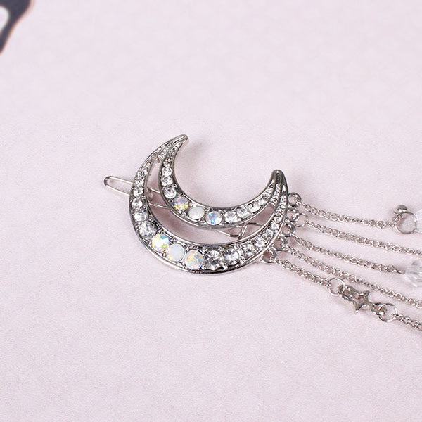 Moon Hair Clip With Rhinestone Tassels