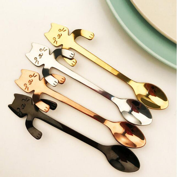 STAINLESS STEEL CUTE CAT TEASPOONS