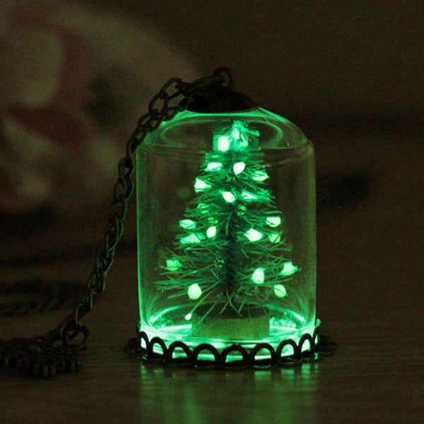 Dark Christmas.Magical Glow In The Dark Christmas Tree Necklace