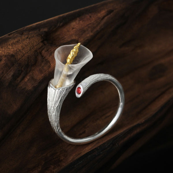 CallaLily™ - Real 925 Sterling Silver Adjustable Ring