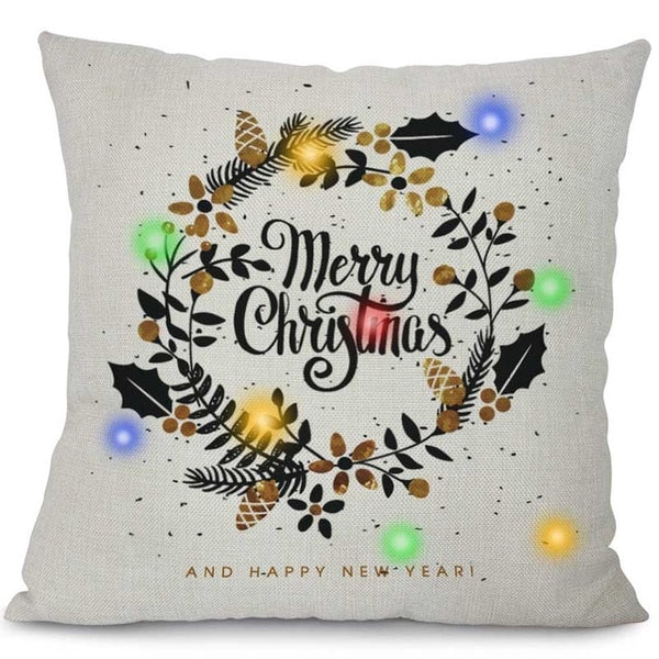 LED Lights Christmas Pillow Covers