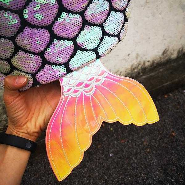 Gradient Sequins Mermaid Tail Backpack