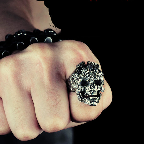 925 Sterling Silver Badass Skull Ring