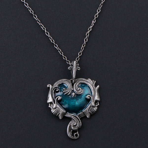 BLU Twin Skull Heart Necklace