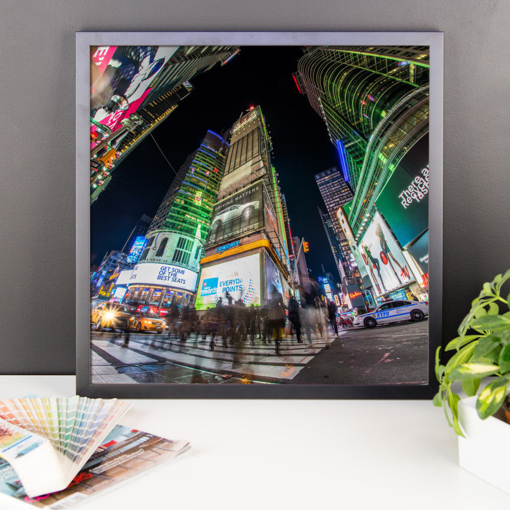 Times Square Walking Framed Premium Image