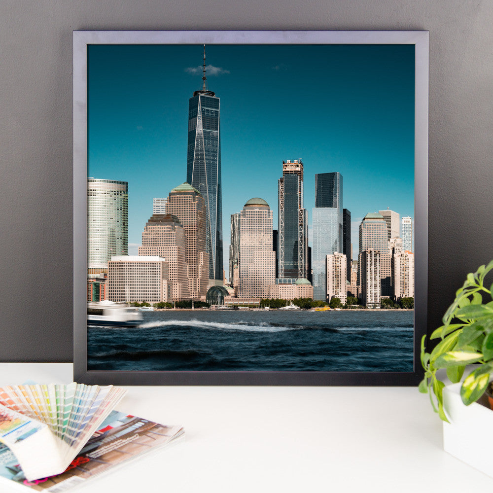 New York City, Financial District from Jersey Framed Premium Image